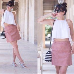 Zara dusty pink faux leather skirt